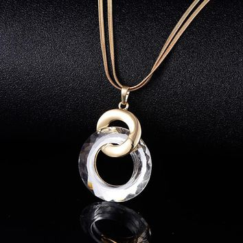 2 Round Circle Pendants Crystal Long Snake Chain Necklaces For Women Gold Silver Color Women Costume Jewelry Party Gifts XL07449