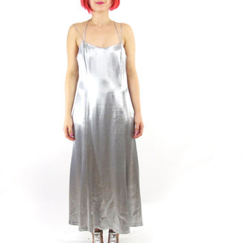 90s Metallic Silver Prom Dress Silver Strappy Maxi Dress Minimalist Long Evening Gown Low Back Dress Sleeveless Party Formal Gown (M)