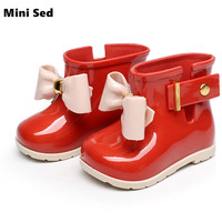 Mini SED Shoes 2017 Cute Baby Jelly shoes For Girl Shoes Children Bow Rain Boot Girls Sandal Cute Girls Shoes Kids Rainboots
