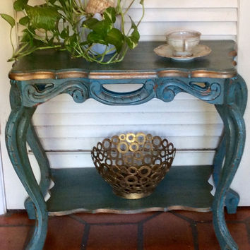 Vintage French Blue Side Table