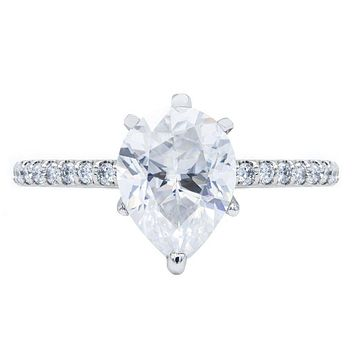 **NEW Pear Crushed Ice Moissanite 6 Prongs Diamond Accent Ice Cathedral Solitaire Ring