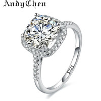 Silver Plated Wedding Rings For Women Square Simulated Diamond Engagement ring Accessories