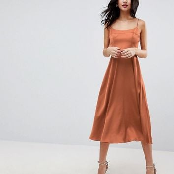 ASOS Square Neck Cami Dress in Midi Length at asos.com