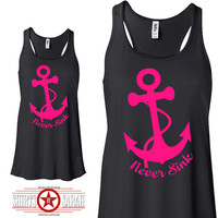 Never Sink Nautical Anchor Tank - Cute Racerback Tanks  Apparel For Women Racer Back  Top Flowy Soft Shirts Ladies