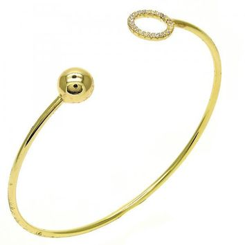 Gold Layered 07.204.0004 Individual Bangle, Ball Design, with White Crystal, Polished Finish, Golden Tone (02 MM Thickness, One size fits all)