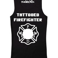 "Women's ""Tattooed Firefighter"" Tank by Rudechix (Black)"