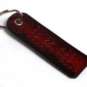 leather keyring, Celtic design, celtic knots, red and brown, leather key fob