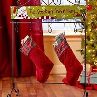 Standing Scrolled Holiday Stocking Hanger Snowman Christmas Home Decor