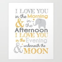 Elephant Nursery Poem - Orange Art Print by Janelle Krupa
