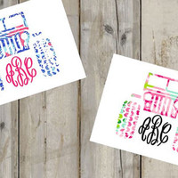 Lilly Pulitzer Inspired Jeep Monogram Decal- Any Font - Laptop Decal - Water Bottle Decal - Car Decal - Sticker - Custom - Window Decal