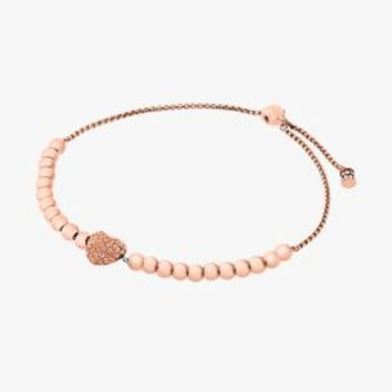 Pavé Rose Gold-Tone Heart Slider Bracelet | Michael Kors