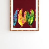 Clara Nilles Rainbow Roosters On Sangria Framed Wall Art