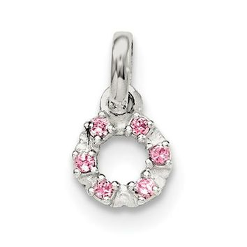 Sterling Silver Pink Circle Pendant