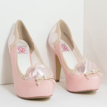 Light Pink & Tan Leatherette Sparkle Shell Bettie Pumps