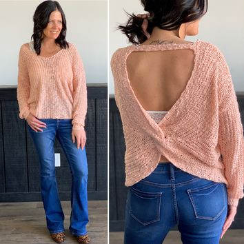 Peach Open Back Knit Sweater