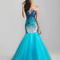 Turquoise Ombre Sequin & Tulle Strapless Mermaid Prom Gown - Unique Vintage - Cocktail, Pinup, Holiday & Prom Dresses.