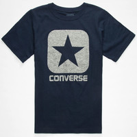 Converse Square Logo Boys T-Shirt Navy  In Sizes