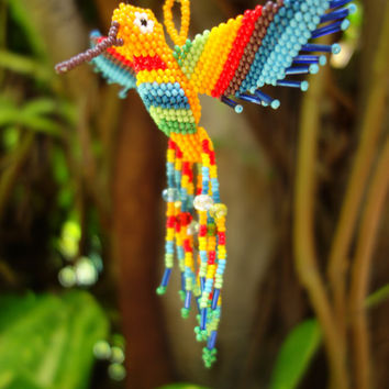 HUMMINGBIRD BEADED 3D BIRD Ornament Seed Beads Glass Miyuki Czech (Mustard Yellow Body - Rainbow)