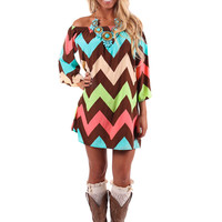 Multi Color Chevron Off Shoulder Dress