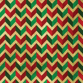 Green Red Chevron Pattern Printed Background With 3D Look - 4649
