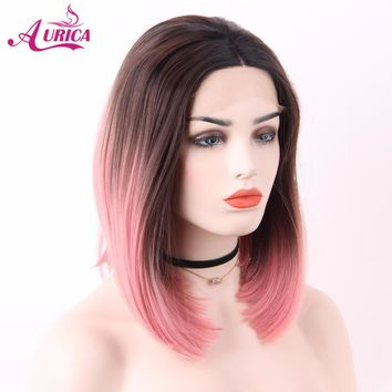 Aurica Short Bob Ombre Pink Heat Safe Synthetic Hair Lace Front Wig With Brown Roots For Women