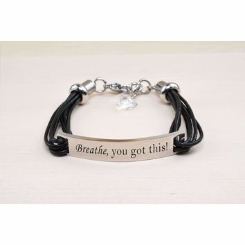 Genuine Leather Id Bracelet With Crystals From Swarovski - Breathe You Got This