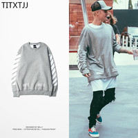 Hip Hop Off White Fleece Hoodies Sweetwear Justin Bieber Virgil Abloh Gray Stripe Cotton Round Neck Sweatshirts Men Women