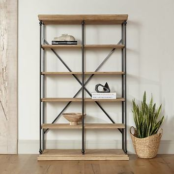 La Salle Metal and Wood 5-Shelf Bookcase - #18X24 | Lamps Plus