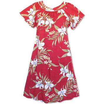Bamboo Orchid Red Hawaiian Rayon Tea Muumuu Dress