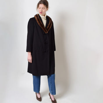 Vintage 1960s Black Wool Overcoat