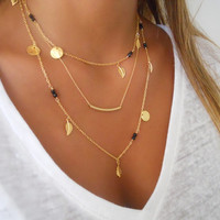 Delicate Gold layered Necklace Set ; Tube, Gemastone Beads and Charms ; Pick Your Beads Color