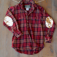 Sequin Flannel Shirt with Sequin Elbow Patch Boyfriend Flannel Shirt Womens Grunge Flannel Gift Ideas for Her Gift Ideas Teens Sequin Shirt