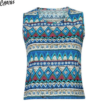 Women 2 Colors Vintage Pop Pattern Ethnic Style Cropped Tank Top O Neck Vest 2016 Summer New Fashion Tribal Casual Crop Tops