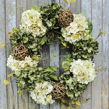 Cream and Green Hydrangea Wreath, Hydrangea Wreath, Year Round Wreath, Earth Tone Wreath, Summer Hydrangea Wreath, Spring Hydrangea Wreath