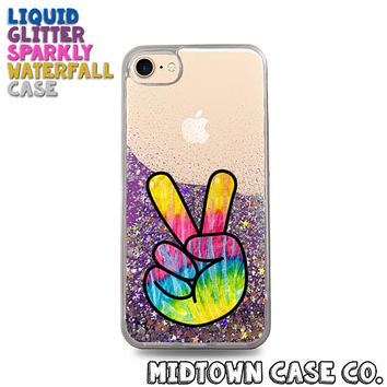 Tie Dye Peace Sign Finger Hand Symbol Love Cute Liquid Glitter Waterfall Quicksand Sparkles Glitter Bomb Bling Case for iPhone 7 7 Plus 6s 6