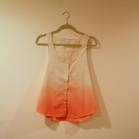 Ombre Dip Dyed Tank Top Shirt- White to  Bright Salmon Pink  S/M