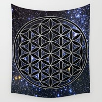 Flower of life in the space Wall Tapestry by Azima