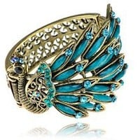 Alilang Womens Antique Gold Tone Peacock Bracelet Bangle With Turquoise Blue Crystal Rhinestone Gems