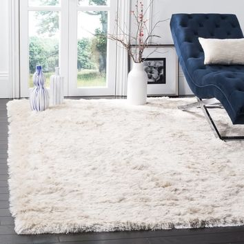Safavieh Handmade Silken Glam Paris Shag Ivory Rug (3' x 5') | Overstock.com Shopping - The Best Deals on 3x5 - 4x6 Rugs