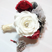 Silver, black and red Steampunk boutonniere using handcrafted paper roses, Men's buttonhole flower, Prom boutonniere, Mom corsage