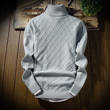 BKTrend Mens Sweaters Autumn Winter Fashion Cashmere Sweater Turtleneck Slim Fit Knitting Men's Pullover Sweaters MY8087