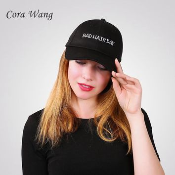 "Trendy Winter Jacket Personality Customized Baseball Caps ""BAD HAIR  DAY"" Black Snapback Caps Men Dad Hats  casquette de marque usa AT_92_12"