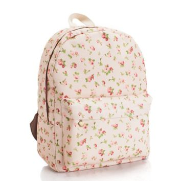 Sweet Floral Printed Canvas Lightweight Backpack