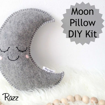 Grey Moon Pillow DIY KIT,  Moon Sewing Kit, Make your own moon softie