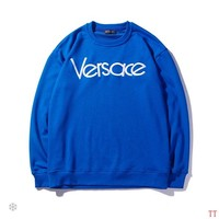Versace autumn new simple letter logo embroidery round neck loose sweater Blue