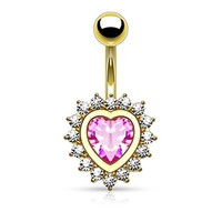 BodyJ4You Jeweled Pink Heart Belly Button Ring Goldtone
