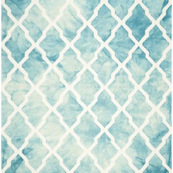 Dip Dye Contemporary Indoorarea Rug Turquoise / Ivory