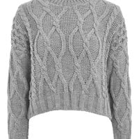 Crop Cable Knit Jumper | Topshop