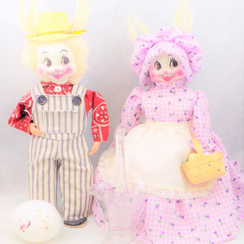 "Easter Rabbits, Folk Art, Hand Crafted, Plastic Heads, Handmade Clothes, 15"" Tall"