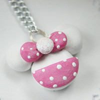 Minnie Mouse Necklace Polymer Clay Jewelry for Tweens Teens and Adults